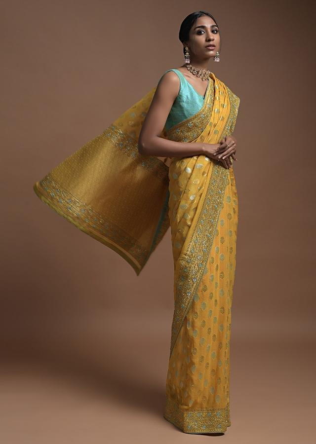 Corn Yellow Banarsi Saree In Georgette With Golden And Silver Weaved Checks And Floral Buttis Online - Kalki Fashion