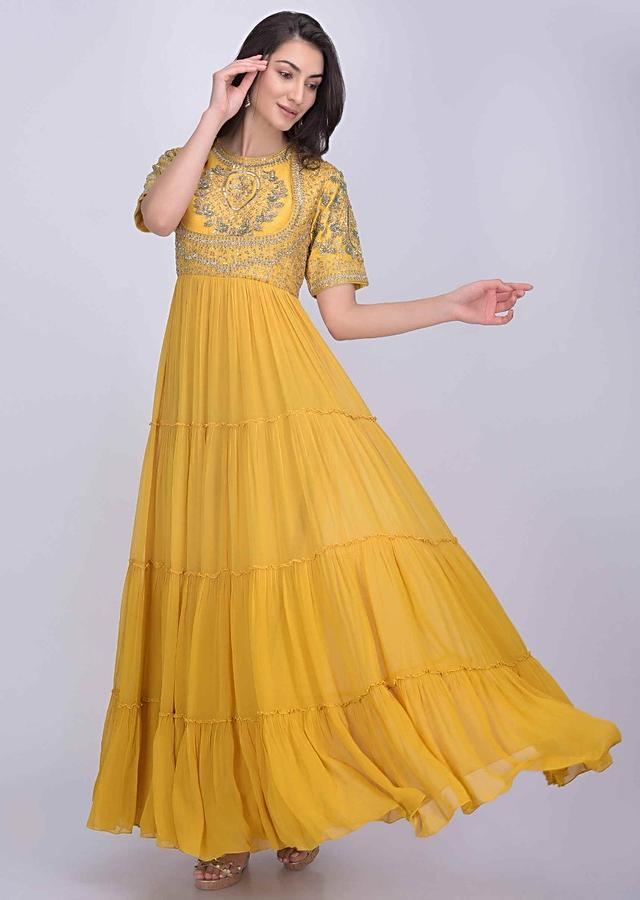 Corn yellow cotton silk and chiffon dress with tiered hemline only on Kalki