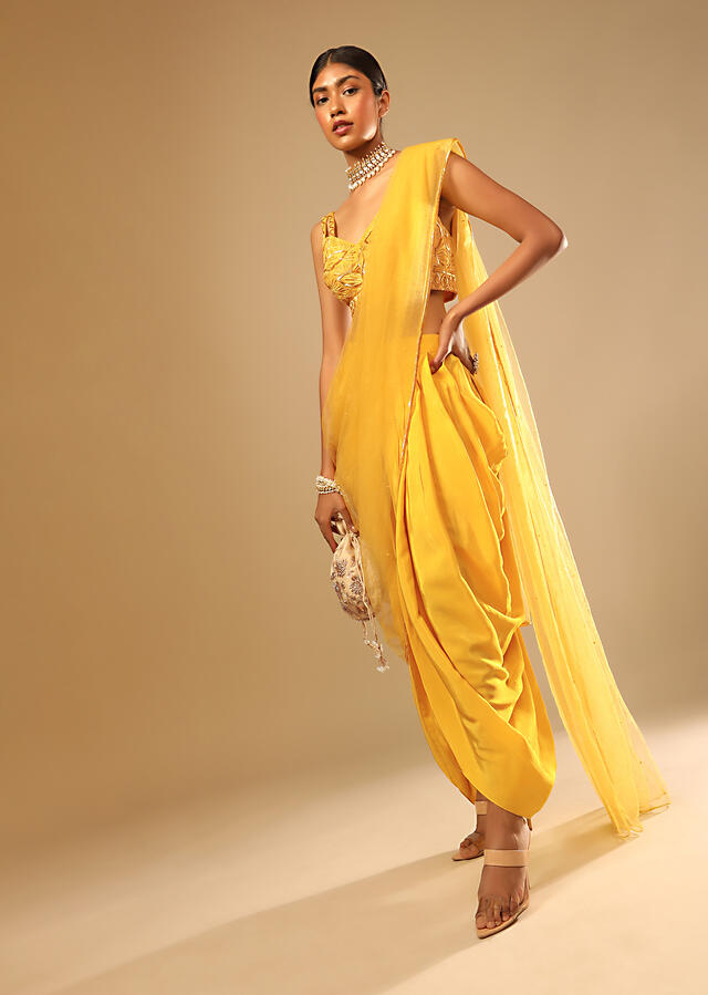 Corn Yellow Dhoti And Crop Top Suit With Hand Embroidered Leaf Motifs And A Matching Dupatta Online - Kalki Fashion