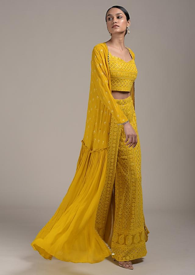 Corn Yellow Palazzo Suit In Georgette With Lucknowi Embroidery And Long Frill Jacket Online - Kalki Fashion