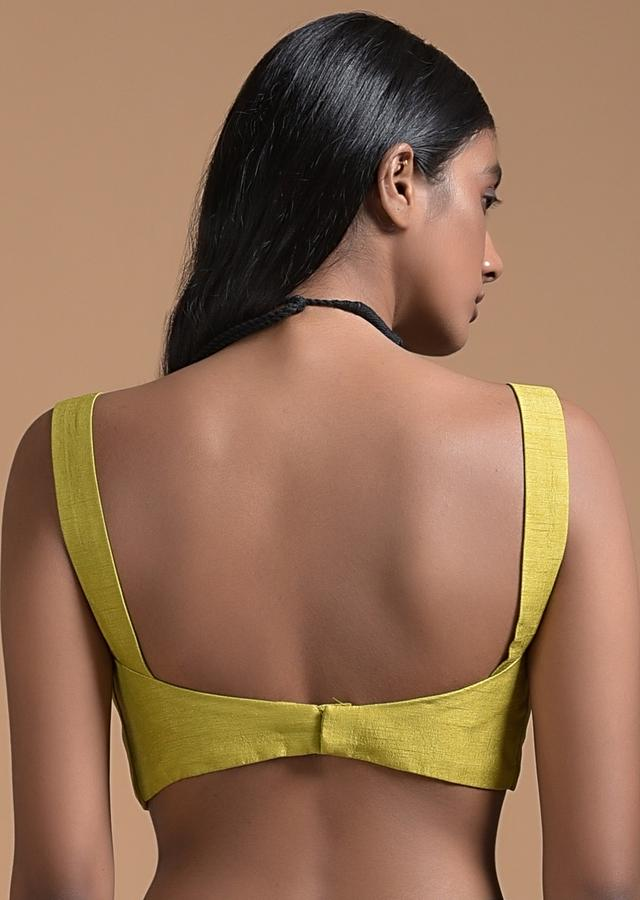 Corn Yellow Sleeveless Blouse In Raw Silk With Sweetheart Neckline And Curved Hem Online - Kalki Fashion