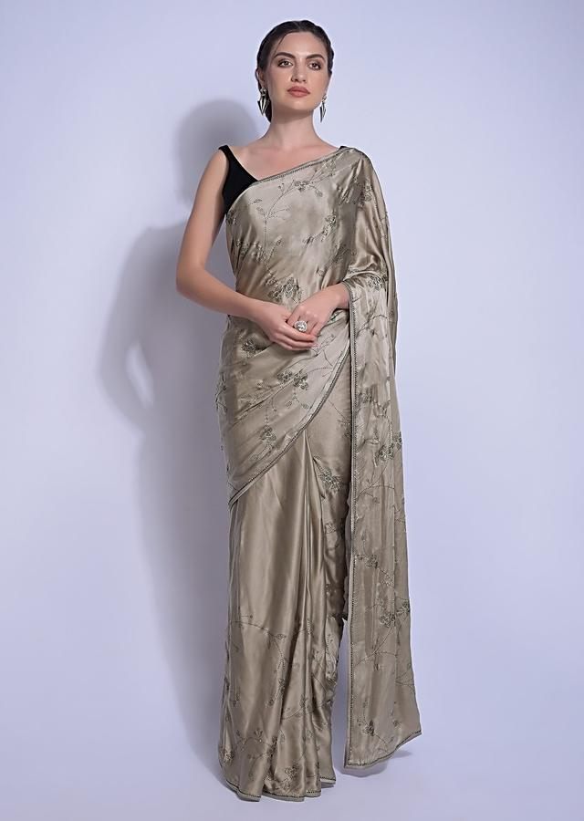 Cosmopolitan Grey Saree In Satin With Kundan In Leaves And Floral Motifs Online - Kalki Fashion