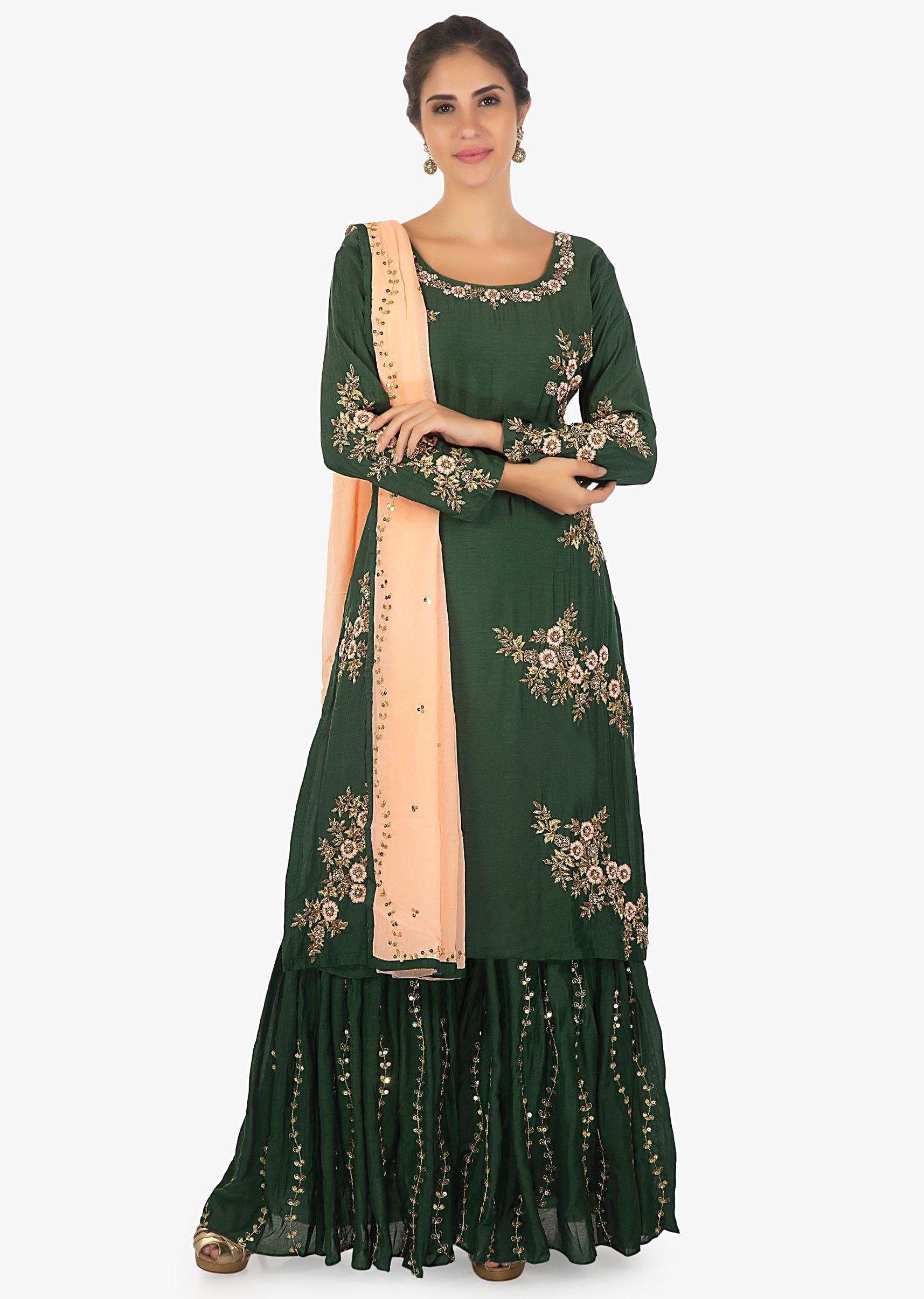 13bdb79074 Cotton dark green palazzo suit zari and resham and zari embroidery only on  KalkiMore Detail