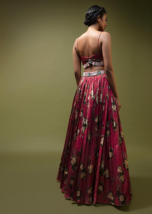 Cranberry Red Lehenga Choli In Floral Printed Satin With A Sequins Dupatta And Embroidered Belt Bag Online - Kalki Fashion