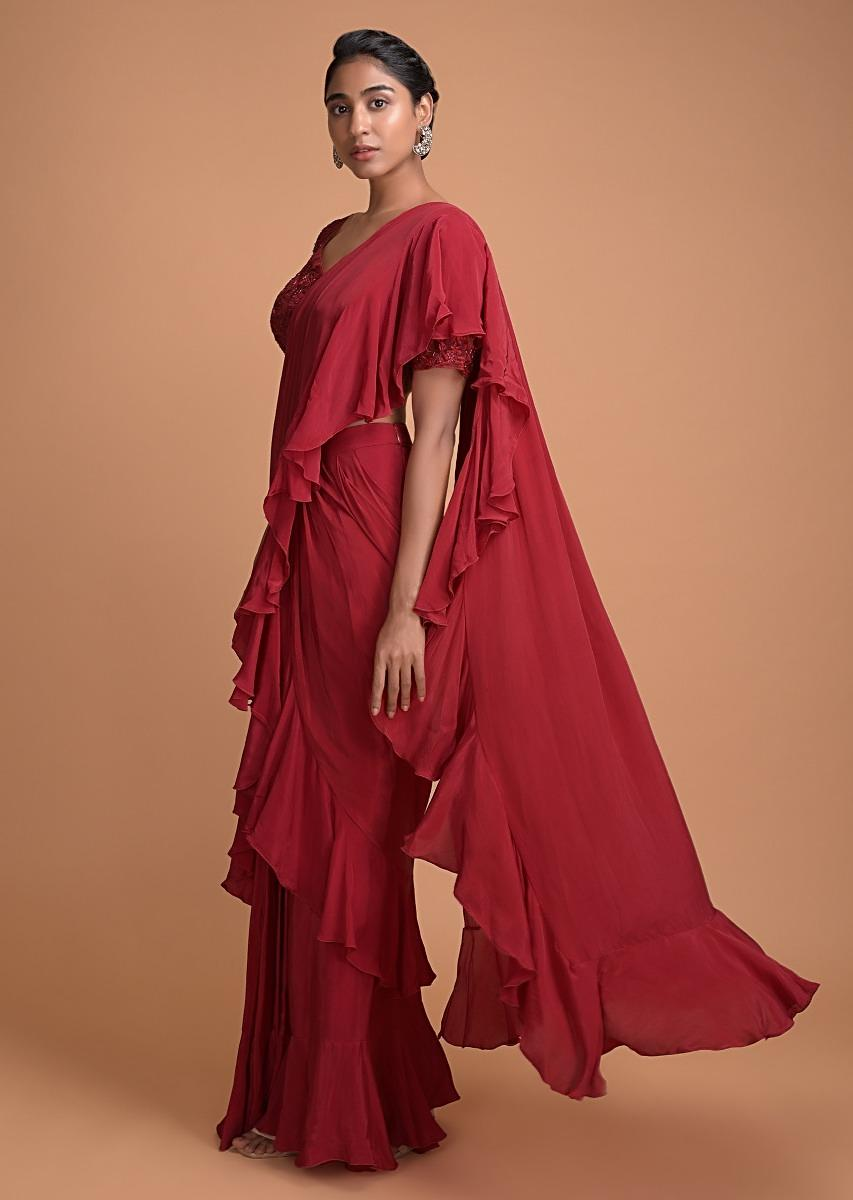 cranberry-red-ready-pleated-ruffle-saree-with-floral-embellished-blouse-online-kalki-fashion-501569_2_.jpg (853×1200)