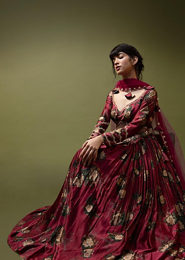Cranberry Red Anarkali Suit In Floral Printed Satin With Front Cut Out And Sequin Embroidery Online - Kalki Fashion