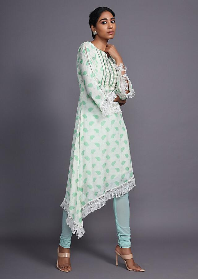 Cream A Line Kurti Set With Asymmetric High Low Hem Trimmed With Thread Fringes Online - Kalki Fashion