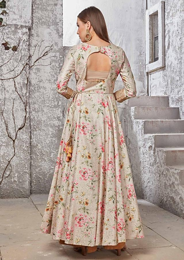 Cream Anarkali Suit In Digital And Foil Print With Contrast Mustard Dupatta Online - Kalki Fashion