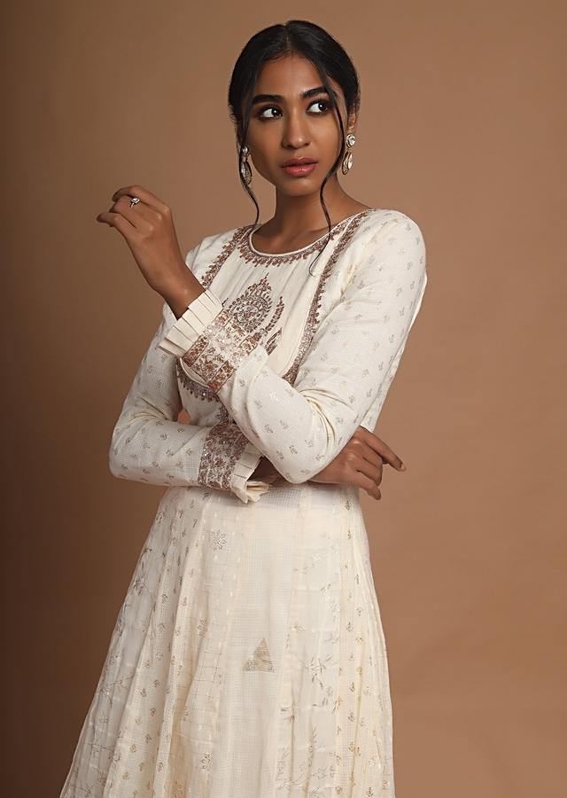 Cream Anarkali Suit With Palazzo Pants And Pita Zari Embroidered Floral Motif On The Bodice Online - Kalki Fashion
