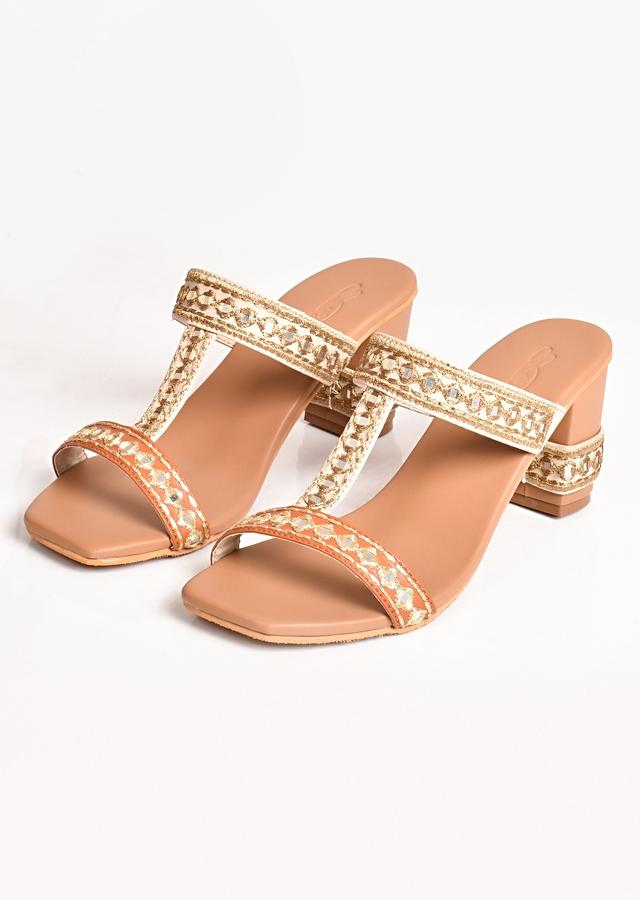 Cream And Beige Heels With Golden Zari And Mirror Embroidery By Sole House