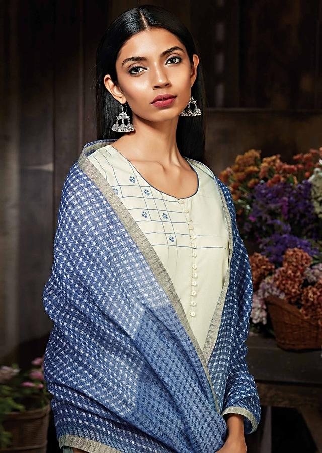 Cream And Blue Unstitched Suit In Cotton Silk With Floral And Checks Print Online - Kalki Fashion