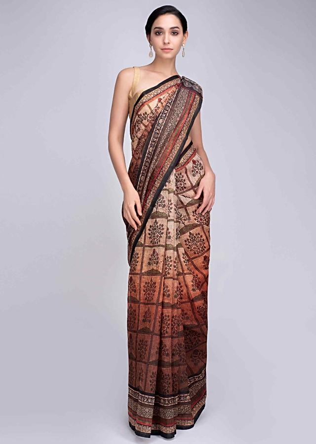 Cream And Brown Saree In Shaded Tussar Silk With Floral Digital Print Online - Kalki Fashion