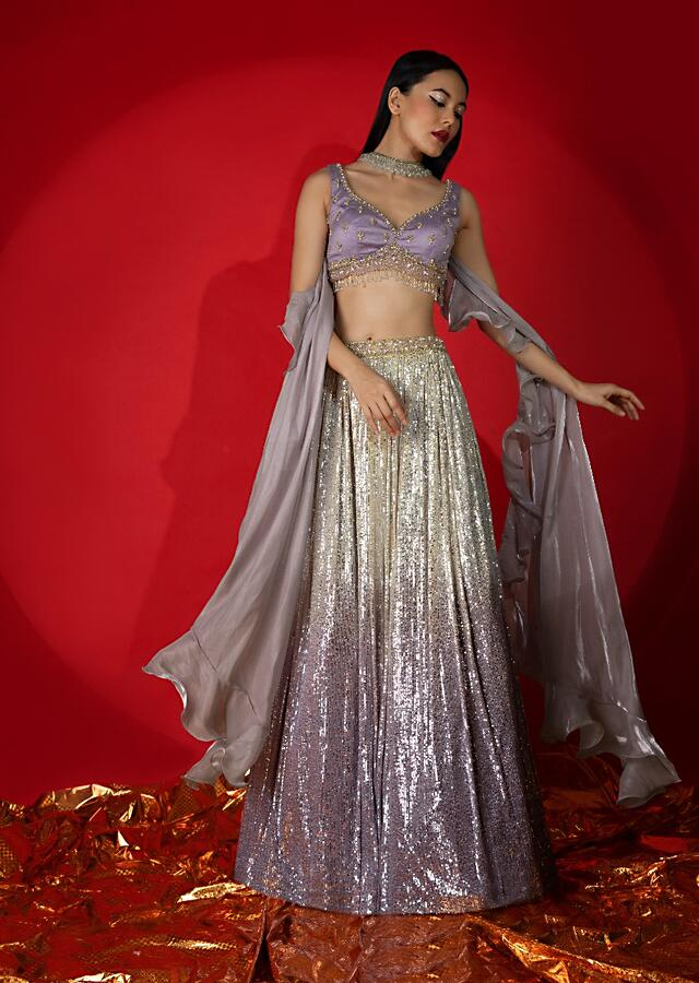 Cream And Lavender Shaded Sequins Lehenga With Hand Embroidered Lavender Choli And Ruffle Dupatta Online - Kalki Fashion