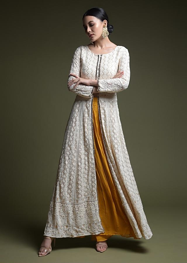 Cream And Mustard Palazzo Suit With Front Slit Anarkali Top Adorned In Lucknowi Work Online - Kalki Fashion