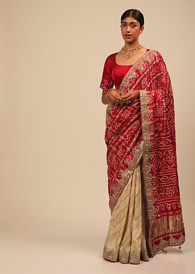 Cream And Red Half And Half Saree With Woven Zig Zag Stripes And Banghani Design On The Pallu Online - Kalki Fashion