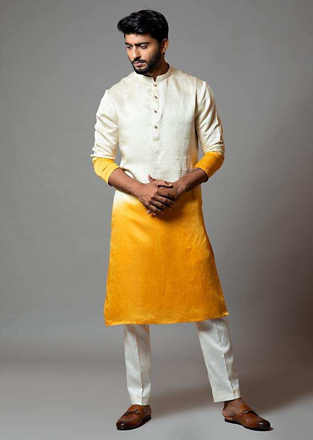 Cream And Yellow Ombre Kurta In Linen Satin Paired With Cream Pajama By Smriti Apparels