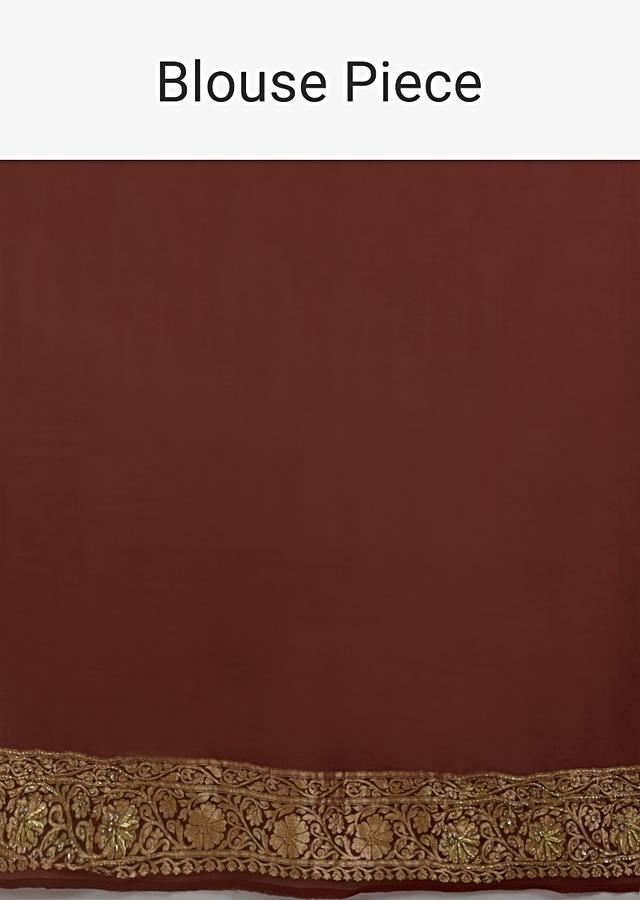 Cream Banarasi Saree In Georgette With Woven Floral Jaal And Maroon Border Along With Stone Accents Online - Kalki Fashion