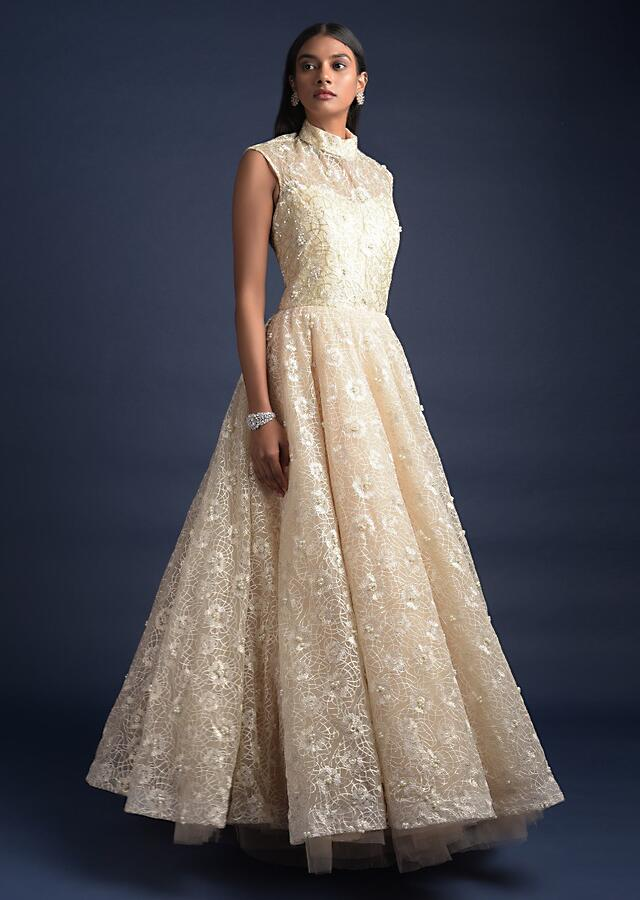Cream Beige Ball Gown With  High Neckline And Floral Jaal Embroidery Online - Kalki Fashion