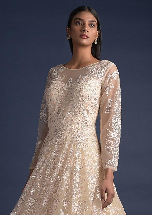 Cream Beige Ball Gown With Thread And Sequins Embroidered Floral Pattern Online - Kalki Fashion