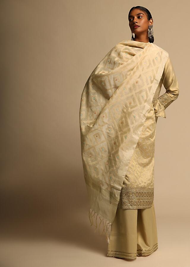 Cream Beige Dupatta In Banarasi Silk With Self Woven Geometric Jaal And Colorful Sequins Embroidered Butts Online - Kalki Fashion