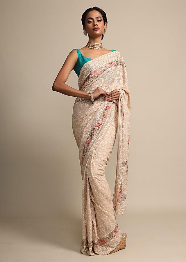 Cream Beige Georgette Saree With Thread Work All Over Online - Kalki Fashion