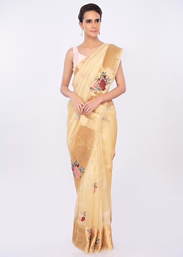 Cream beige organza saree in multi color floral butti only on kalki