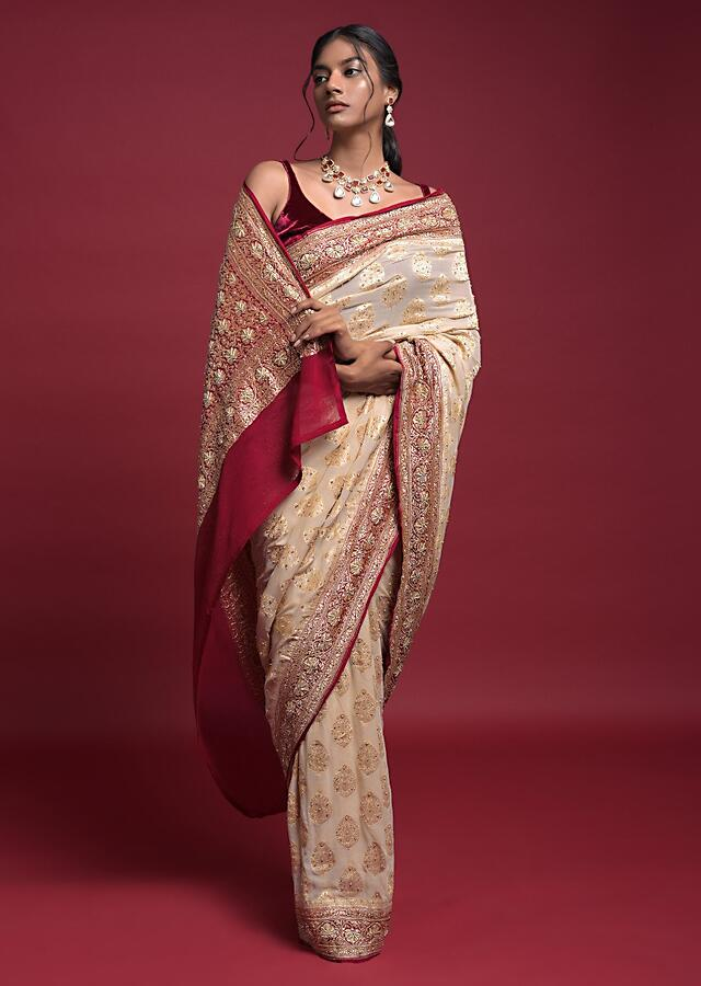 Cream Beige Saree In Georgette With Weaved Leaf Buttis And Burgundy Weaved Pallu And Border Online - Kalki Fashion