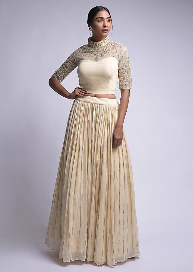 Cream Beige Skirt And Crop Top With Gotta Lace And Floral Embroidery Online - Kalki Fashion