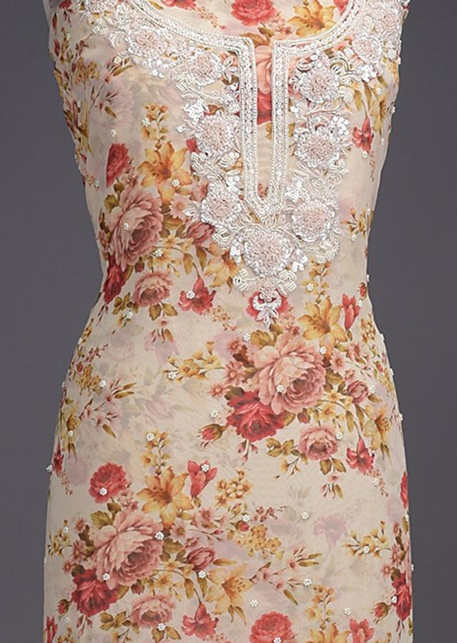 Cream Beige Unstitched Suit With Floral Print And Pearl Embellished Buttis Online - Kalki Fashion