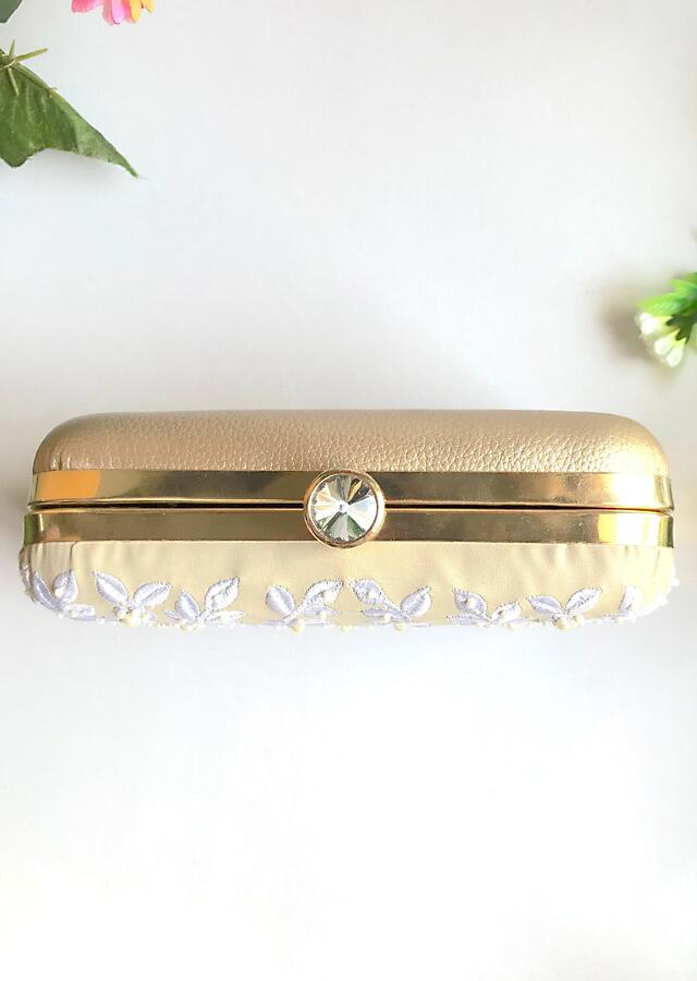 Cream Box Clutch With Thread And Pearl Embroidered Floral Design By Sole House