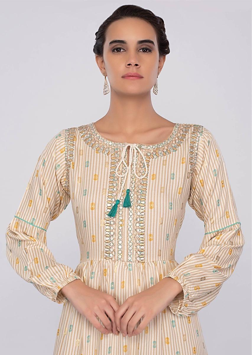 dccb3ef2af40 Cream cotton tunic dress with beige stripes only on kalki