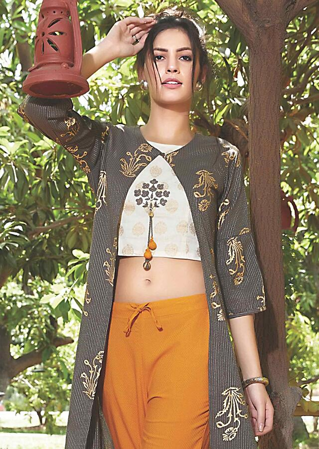 Cream Crop Top, Fire Yellow Straight Cut Pants And Grey Jacket With Foil Print