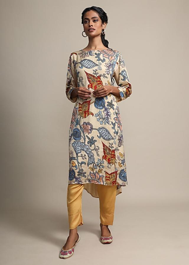 Cream Digital Floral Printed Top With Contrasting Golden Pants Online - Kalki Fashion