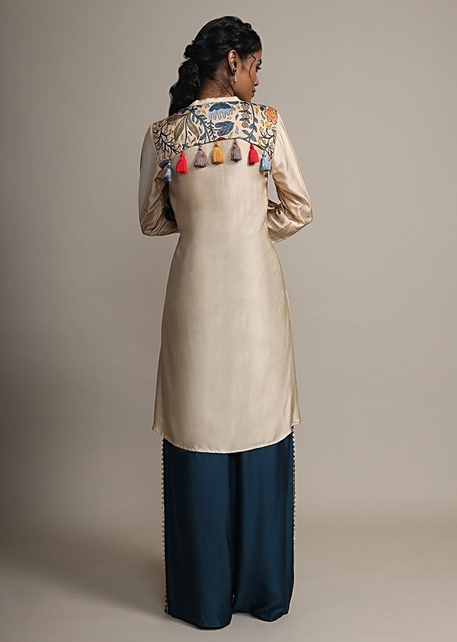 Cream Floral Printed Suit With Contrasting Peacock Blue Palazzo Pants Online - Kalki Fashion