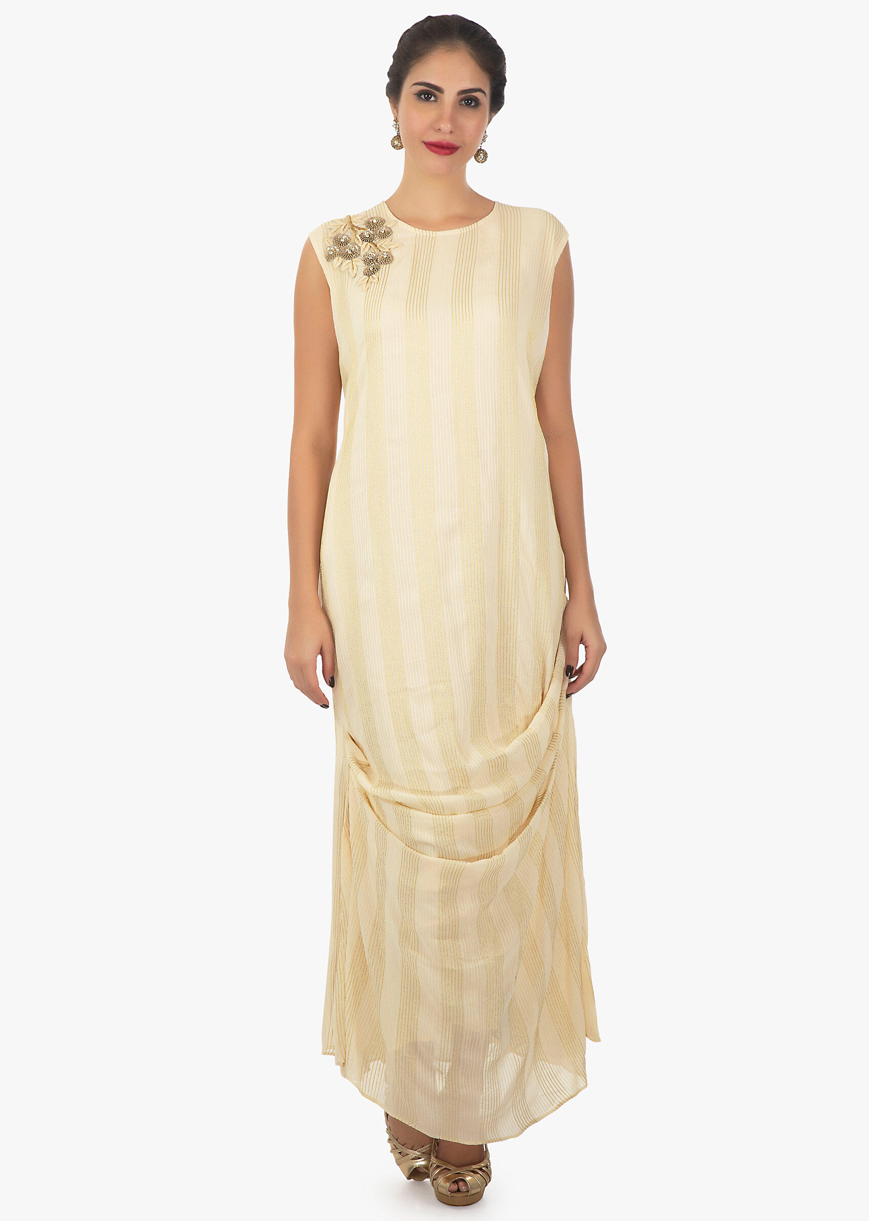 e8e87efbdb Cream georgette tunic with side pleats and thread work with embroidered  patch only on KalkiMore Detail