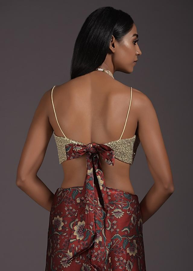 Cream Gold Blouse In Sequins Fabric With Floral Printed Satin Tie Up In The Back And Straps On The Shoulder Online - Kalki Fashion