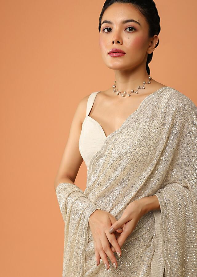 Cream Gold Half And Half Saree In Organza With Cut Dana And Sequins Embroidery And Sequins Lycra Pallu Online - Kalki Fashion