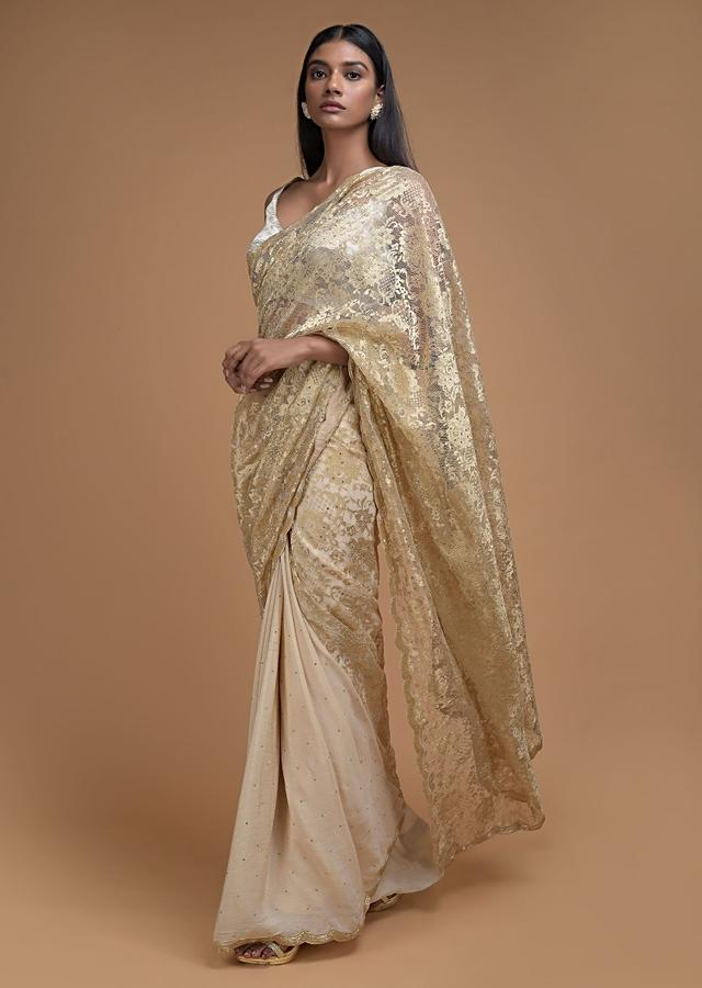 Cream Half And Half Saree In Crepe And Floral Lace With Kundan Buttis Online - Kalki Fashion
