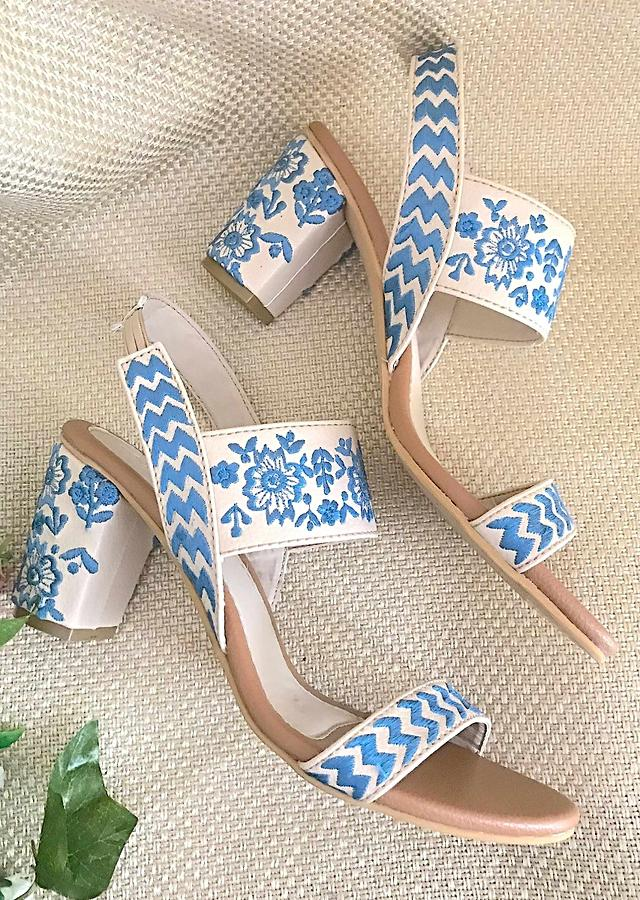Cream Heels With Blue Floral Embroidery By Sole House