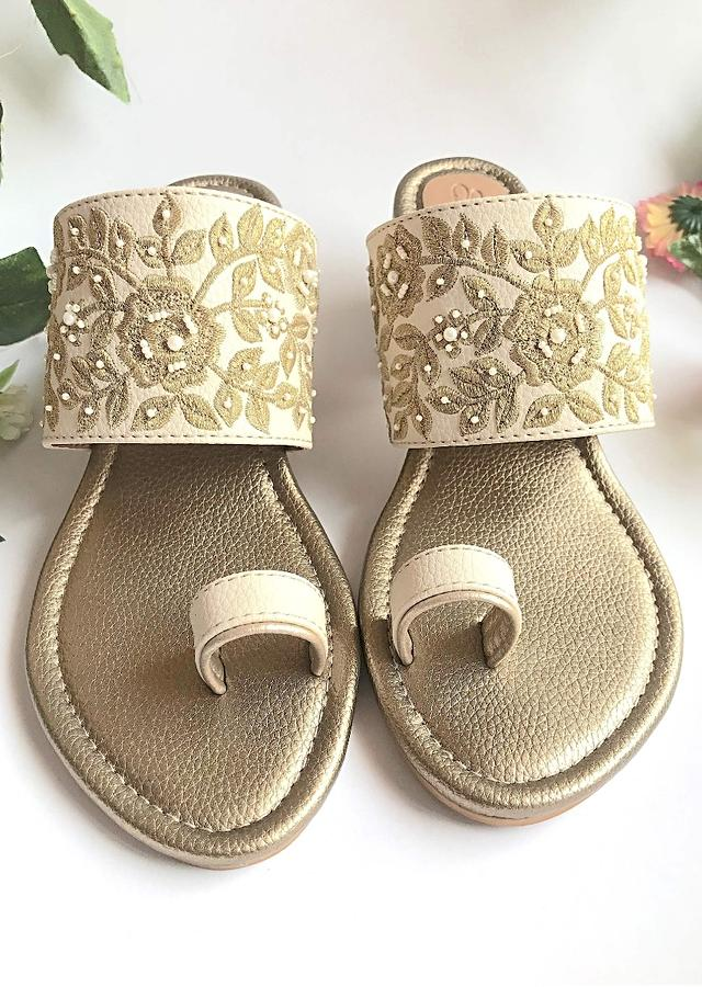 Cream Heels With Gold Zari And Moti Work N Floral Design By Sole House