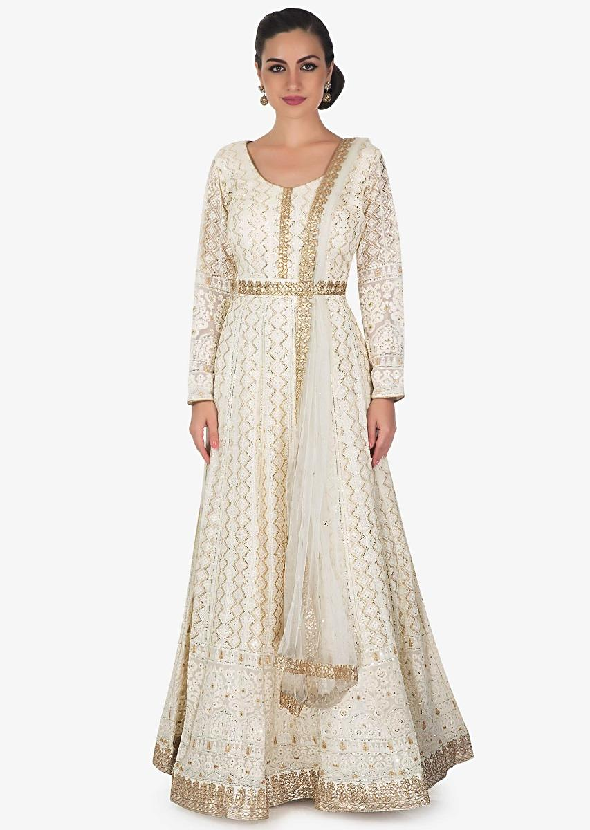 c27e69af9be7 Ivory anarkali suit in chiffon with thread work and sequin work only on  Kalki