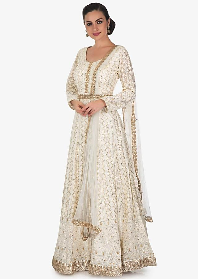 Ivory Anarkali Suit In Georgette With Lucknowi Thread Work And Sequin Work Online - Kalki Fashion