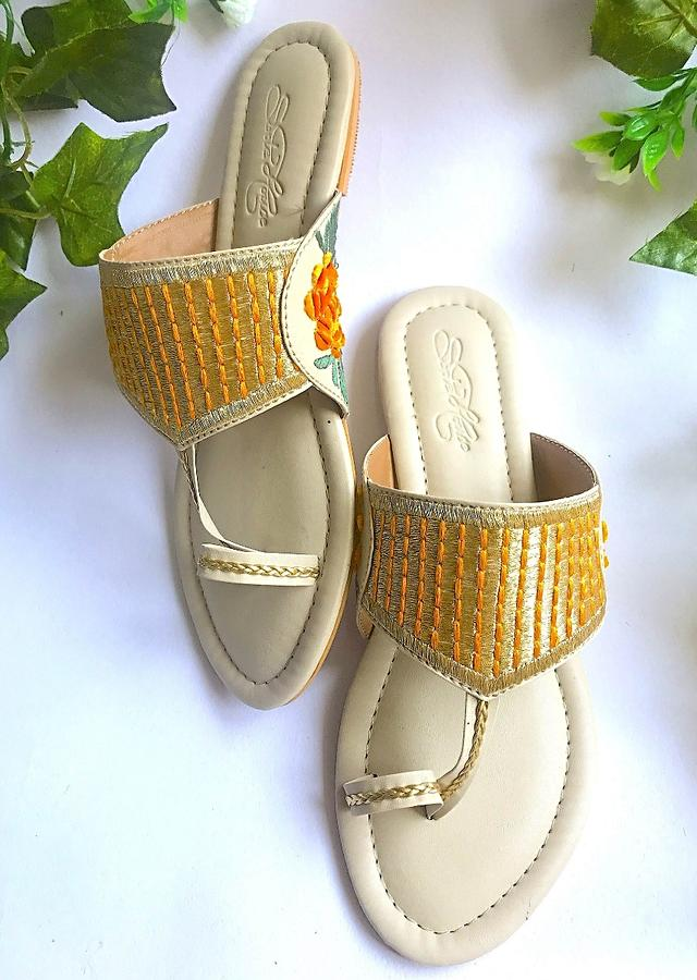 Cream Kolhapuri Flats With Traditional Zari Work And Accents Of Orange Velvet Rose Patchwork And Thread Online By Sole House