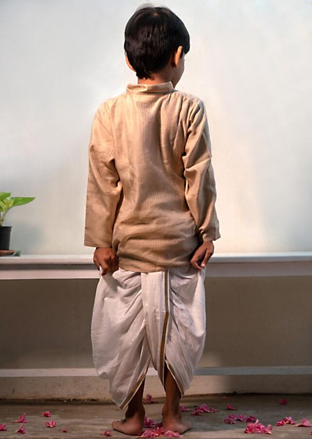 Cream Kurta In Hand-woven Cotton Silk With Zari Enhanced Placket And Twisted Design At The Neck Love The World Today