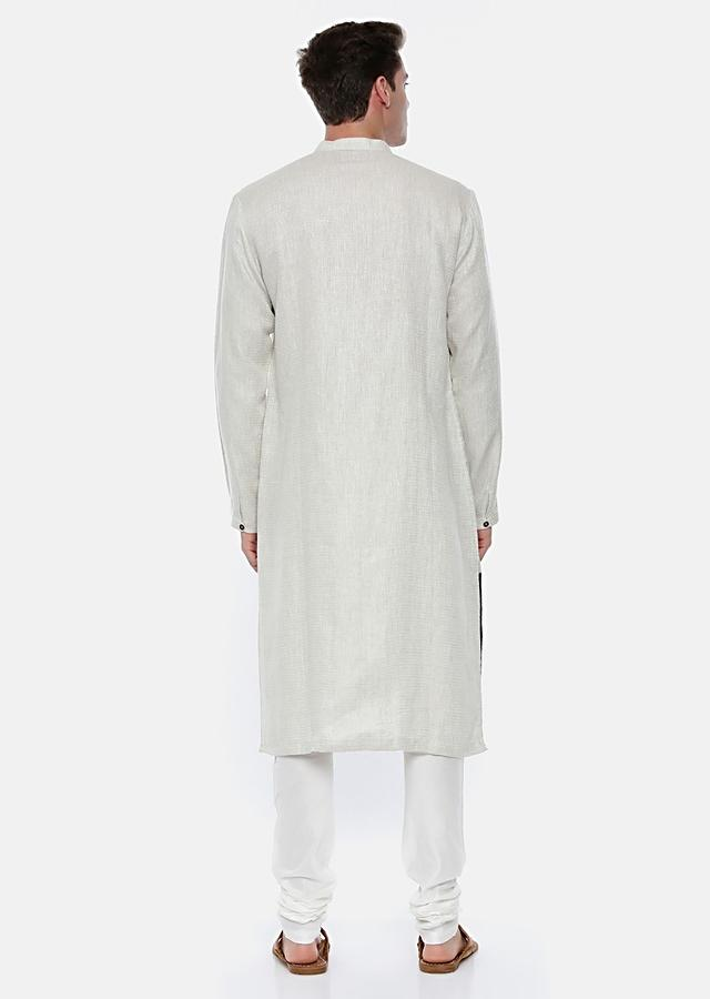 Cream Kurta Set In Linen With Thread Embroidered Brown Patch By Mayank Modi