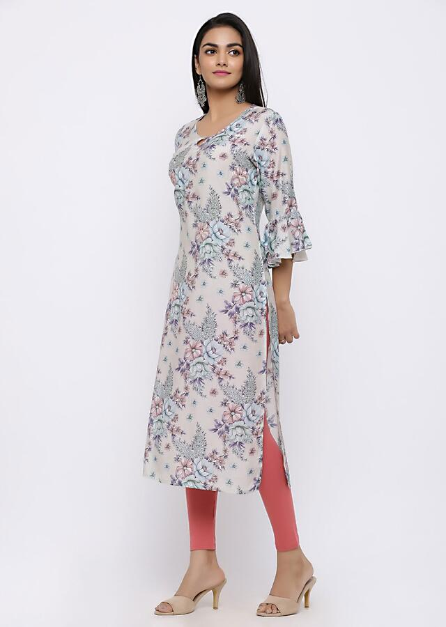 Cream Kurta With Floral Jaal And flare sleeve Online - Kalki Fashion