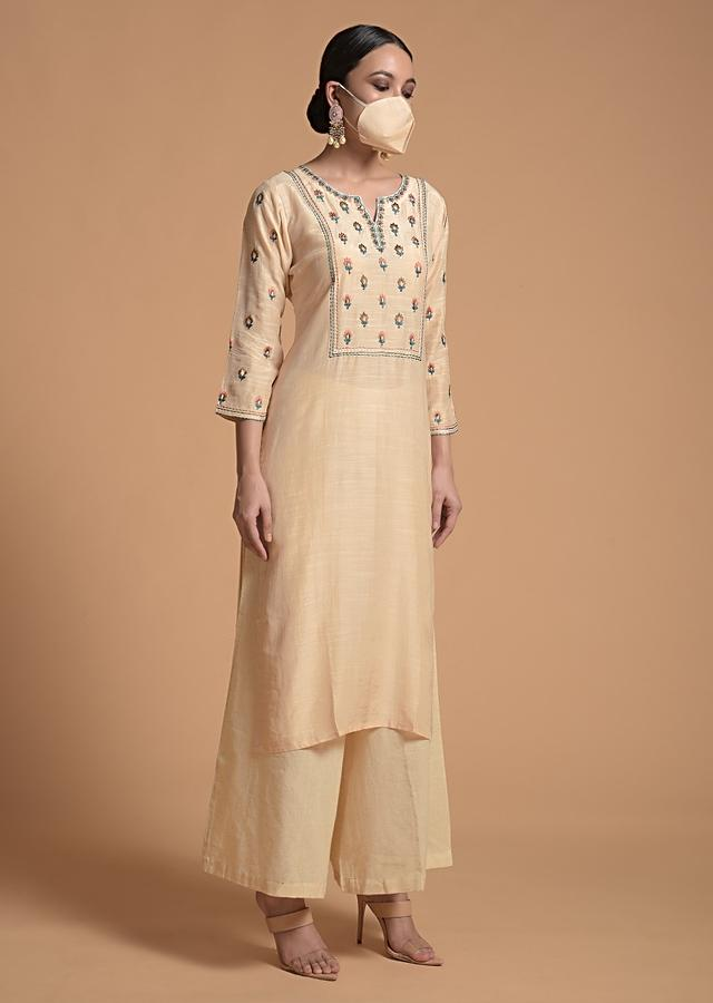 Cream Kurti In Cotton Silk With Resham And Sequins Embroidery And Matching Facemask Online - Kalki Fashion