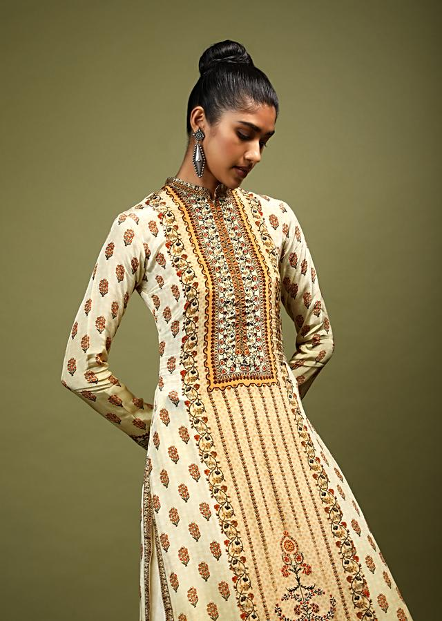 Cream Kurti In Crepe With Floral Print And Kundan Accents Online - Kalki Fashion