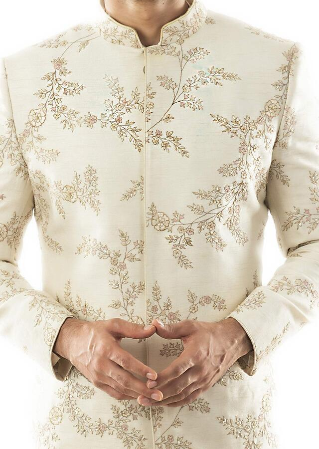 Cream Leaf All Over Jaal Hand Embroidered Sherwani Paired With A Cream Pin Tuck Pant Pajama Online - Kalki Fashion
