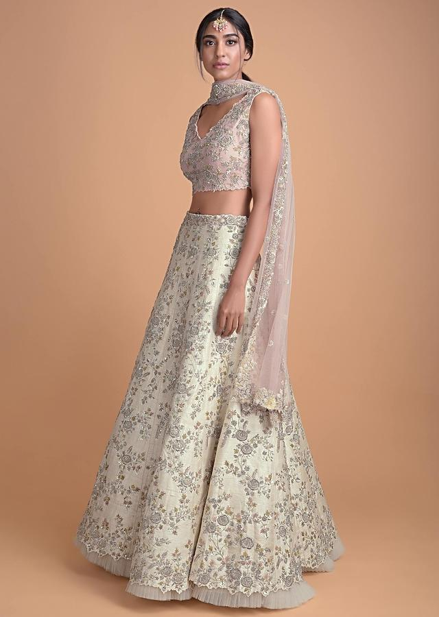 Cream Lehenga In Raw Silk With Hand Embroidered Floral Pattern Online - Kalki Fashion